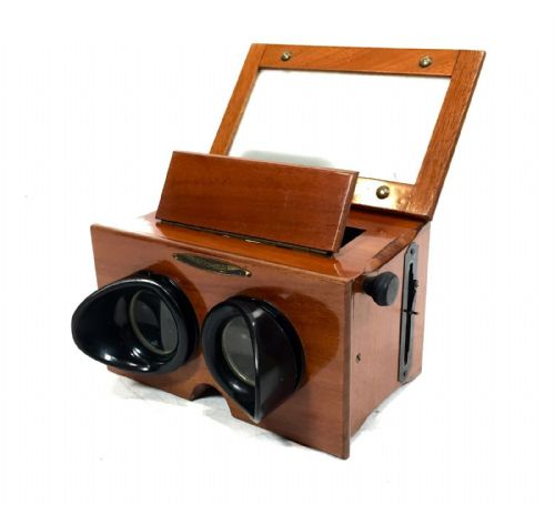 Antique French Wooden Stereo Viewer / Stereoscope / Unis France / 19th Century